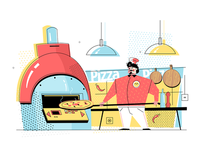 Man baking pizza kit8 flat vector illustration cook uniform character professional pizza baking man