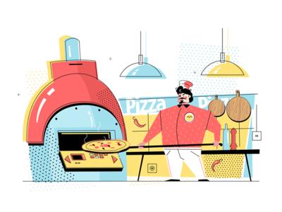 Man baking pizza kit8 flat vector illustration cook uniform character professional pizza baking man
