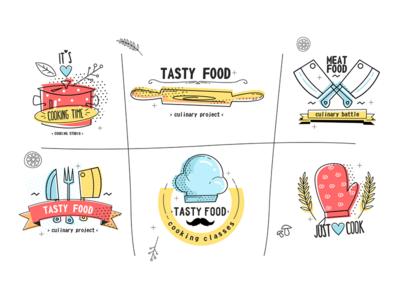 Cooking badges kit8 flat vector illustration food tasty kitchen badge