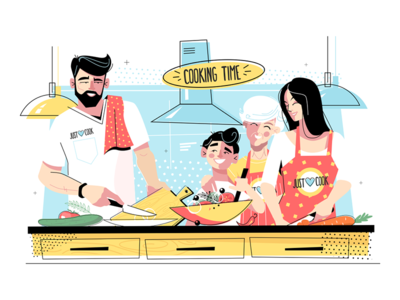 Family cooking food together kit8 flat vector illustration character together food cooking family