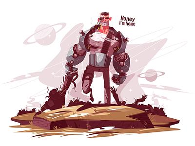 Star ranger at battlefield kit8 flat vector illustration character armor man armed battlefield ranger star