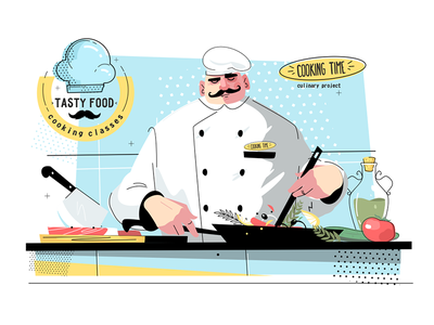 Cooking time and culinary project kit8 flat vector illustration character cook man chef culinary time cooking