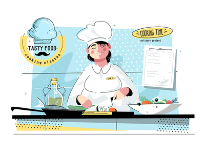 Woman sous-chef at kitchen kit8 flat vector illustration character uniform cook kitchen chef sous woman