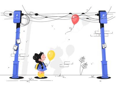 Little girl with balloon kit8 flat vector illustration character child cute balloon girl