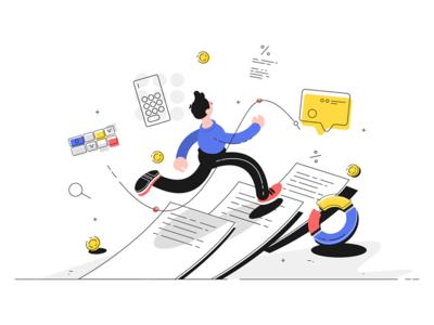 Man running on documents kit8 flat vector illustration character guy document running man