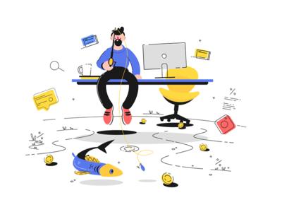 Man fishing in office kit8 flat vector illustration character table sitting guy office man fishing