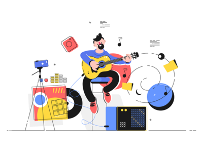 Man playing electric guitar kit8 flat vector illustration character guitar playing man entertainment musician music