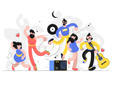 People having fun on dance floor kit8 flat vector illustration character together dance people fun celebration party