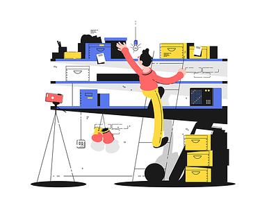 Man in storage room kit8 flat vector illustration character storage man package storeroom