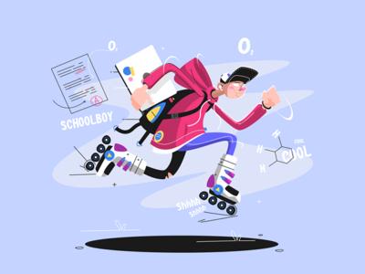 Rollerblading teenager moving fast kit8 flat vector illustration character fun teenager schoolboy laptop sport dude rollerblading