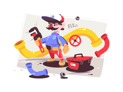 Plumber master in uniform kit8 flat vector illustration character man wrench holding uniform master male plumber