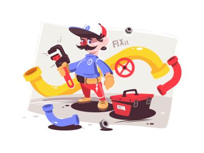 Plumber master in uniform kit8 flat vector illustration character man wrench holding uniform master male plumber
