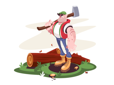 Lumberjack kit8 flat vector illustration character man log axe male lumberjack