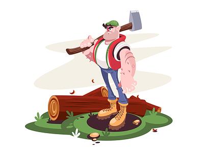 Lumberjack kit8 flat vector illustration character man log axe male lumberjack