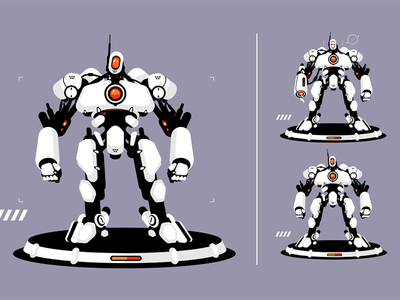 Cyber security robot character robot strong security cyber kit8 flat vector illustration