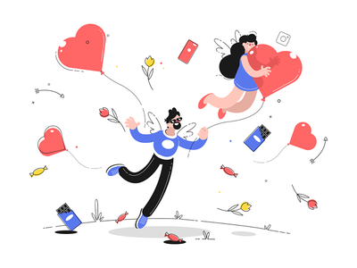 Valentine's day and love kit8 flat vector illustration character heart woman flying ribbon holding man day valentines
