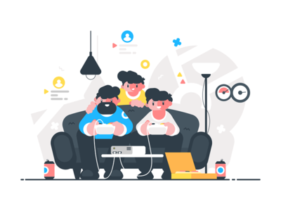 Friends sitting on couch and playing video games kit8 flat vector illustration character man friend gamepad videogame gamer game
