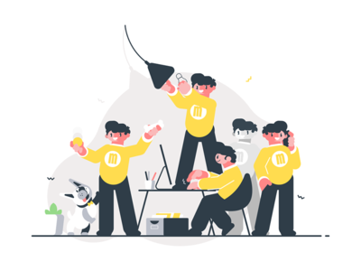 Man doing many things simultaneously kit8 flat vector illustration character simultaneously man male multitasking rush time