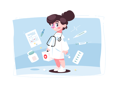 Cheerful female doctor kit8 flat vector illustration character woman stethoscope medical female cheerful medicine doctor
