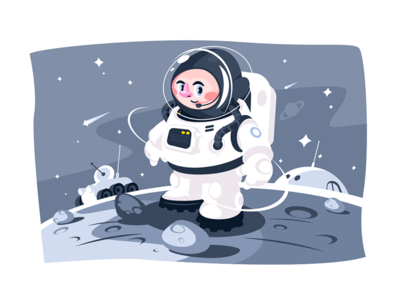 Astronaut on surface of a planet in space kit8 flat vector illustration character space planet surface astronaut performing spacesuit