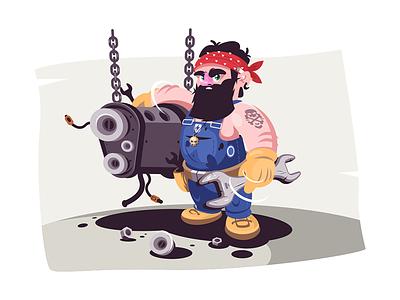 Car station auto mechanic kit8 flat vector illustration character car station service guy man mechanic auto