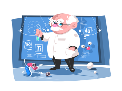Old scientist kit8 flat vector illustration character man testing old scientist