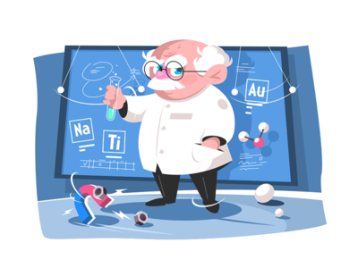 Old scientist kit8 flat vector illustration character man testing old scientist