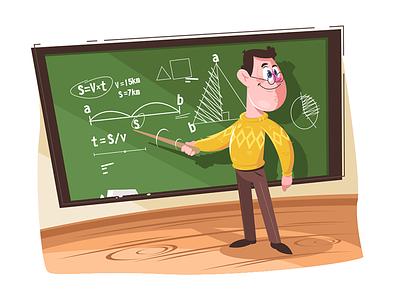 Maths teacher pointing at board kit8 flat vector illustration character man board formula pointing maths teacher