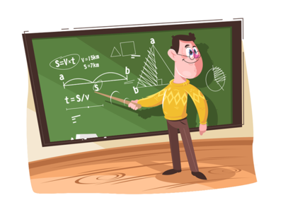 Maths teacher pointing at board