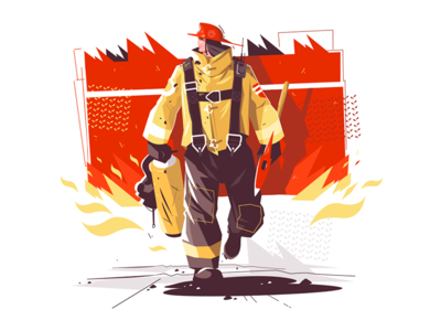 Firefighter characters with rescue equipment