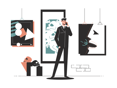 Businessman in an art gallery talking on phone kit8 flat vector illustration character man phone talk gallery art