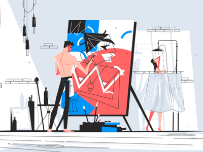 Man painting a woman kit8 flat vector illustration character picture man easel standing painter