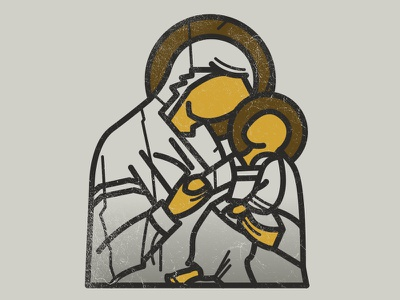 Batushka jesus saint occult flat stroke blackmetal vector illustration icon