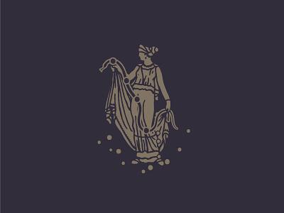 Andromeda retro vintage stamp vector andromeda snake goddess ancient roman greek autentic coin