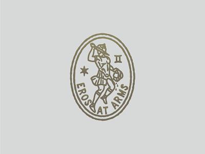 Eros symbol brush vector vintage greek logo stamp eros antique coin