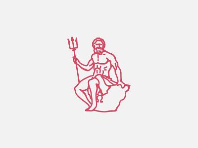 Poseidon illustration logo man vector stamp coin ancient antic roman greek poseidon