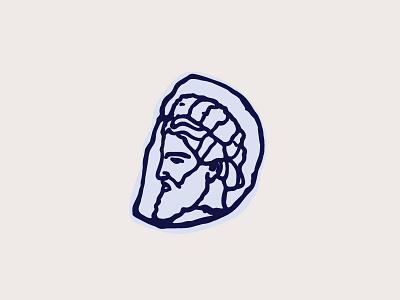 Tinia deus vintage antic greek roman beard god stamp vector retro