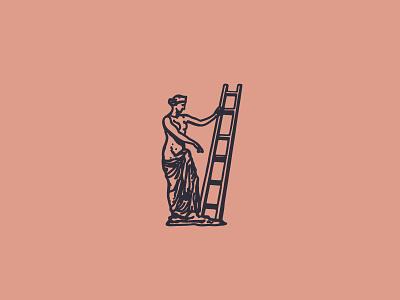 Stairs goddess woman statue type deus vintage antic greek roman stamp vector retro