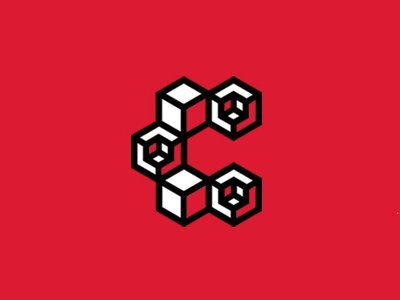A logo in progress hexagon cube c red logotype graphicdesign logo