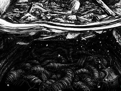 Underwater Secrets ruzin bw lp coverart illustration industrial