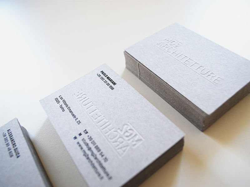 MG2 Architetture - business card business card paper emboss ink material grey minimal architecture print