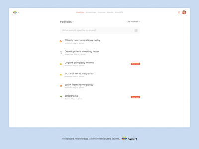 Wikit - share knowledge with your ditributed team slack share list web app knowledge base wiki