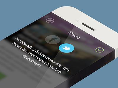Share modal ios7 iphone modal share social buttons