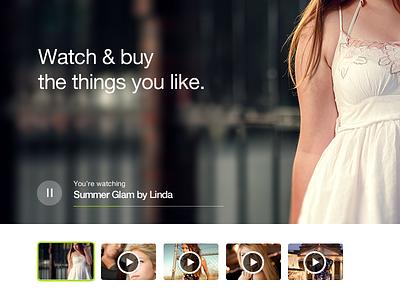 Watch & Buy landing ux ui video website app startup