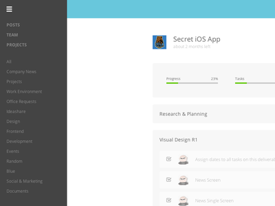 Taskware Project project management web app responsive side menu taskware ideaware
