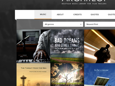 Film Music Library ideaware dark music landing menu navigation