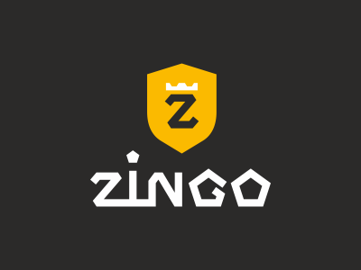 ZINGO lettering quality gold shield sign logotype gas-oil