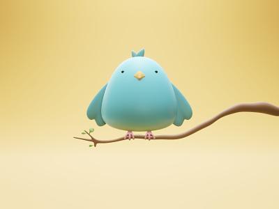 fat twitter bird 3D illustration blue bird low-poly 3d twitter