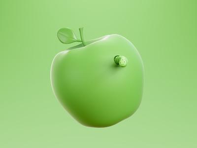 the bug error fruit illustration graphic design design 3d art lowpoly 3d apple bug