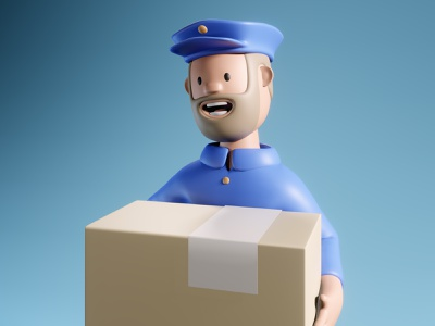 free delivery order courier design lowpoly 3d art illustration 3d delivery mail postman free delivery